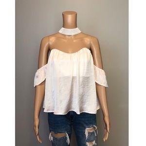 Nordstrom 4Sienna white off shoulder choker blouse